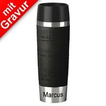 emsa Isolierbecher TRAVEL MUG Grande XXL Manschette Schwarz 500ml MIT GRAVUR (z.B. Namen)