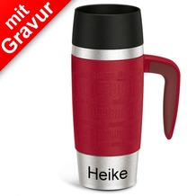 emsa Isolierbecher TRAVEL MUG Handle rot 360ml MIT GRAVUR (z.B. Namen) mit Griff/Henkel