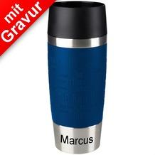 emsa Isolierbecher TRAVEL MUG Manschette blau 360ml MIT GRAVUR (z.B. Namen)