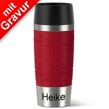 emsa Isolierbecher MIT GRAVUR - UNTEN - (z.B. Namen) TRAVEL MUG Manschette rot 360ml