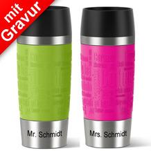 emsa Partnerbecher MIT GRAVUR - UNTEN - (z.B. Mr.+ Mrs. Schmidt) TRAVEL MUG Isolierbecher grün+pink 360ml