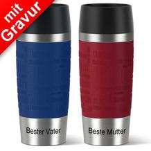 emsa Partnerbecher MIT GRAVUR - UNTEN - (z.B. Beste Mutter + Bester Vater) TRAVEL MUG Isolierbecher rot + blau 360ml