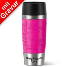 emsa Thermobecher MIT GRAVUR -UNTEN- (z.B. Beste Freundin Anna) TRAVEL MUG Manschette Himbeere pink 360ml