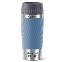 emsa Travel Mug Easy Twist MIT GRAVUR - OBEN & UNTEN - (z.B. Namen) 0,36L blau wasserblau