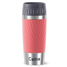 emsa Travel Mug Easy Twist MIT GRAVUR - UNTEN - (z.B. Namen) 0,36L rot Living Coral
