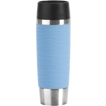 emsa Travel Mug Waves Grande Isolierbecher 0,5L Edelstahl blau Puderblau