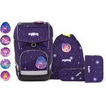 ergobag Cubo Schulranzen-Set 5tlg. inkl. Klettie-Set bärgasus glow lila galaxie glow