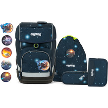 ergobag Cubo Special Edition Galaxy Schulranzen-Set 5tlg. inkl. Klettie-Set kobärnikus glow blaue galaxie glow