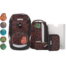 ergobag Pack Special Edition Stripes Schulranzen-Set 6tlg. inkl. Klettie-Set supbärheld lava rot schwarz