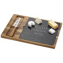 Esmeyer Käse Set COLMAR inkl. Servierbrett ca. 36,5 x 25 x 1,5 cm aus Akazienholz, mit bedruckter Schiefereinlage