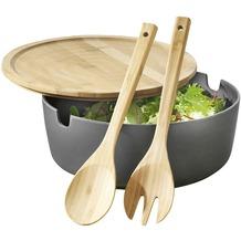 Esmeyer Salatschüssel BROOKLYN anthrazit mit Deckel und 2-teiligem Salatbesteck aus Bambus (Servierschüssel)