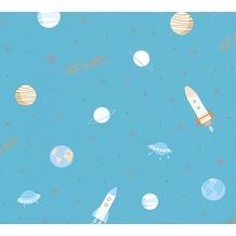 esprit kids Papiertapete Ökotapete beige blau metallic 10,05 m x 0,53 m