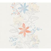 ESPRIT Vliestapete Romantic Botanics Tapete bunt metallic weiß 10,05 m x 0,53 m
