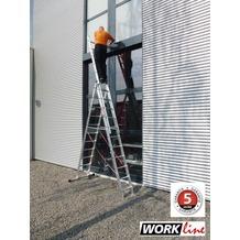 euroline Alu Kombi Leiter 3x11 Sprossen Work  Line Mehrzweck Arbeitshöhe 8,95m