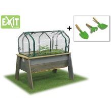 EXIT Aksent Hochbeet L mit Gewächshaus und Gartengeräten