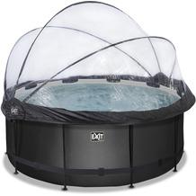 EXIT Black Leather Pool mit Abdeckung und Sandfilter- und Wärmepumpe - schwarz ø360x122cm