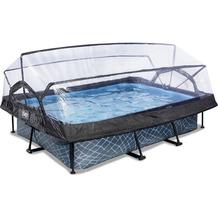 EXIT Stone Pool mit Abdeckung und Filterpumpe - grau 300x200x65cm