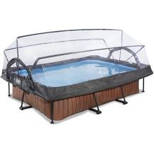 EXIT Wood Pool mit Abdeckung und Filterpumpe - braun 300x200x65cm