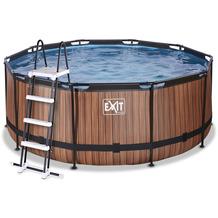 EXIT Wood Pool mit Filterpumpe - braun ø360x122cm