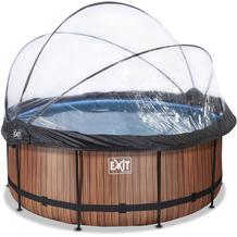 EXIT Wood Pool mit Abdeckung und Sandfilter- und Wärmepumpe - braun ø360x122cm
