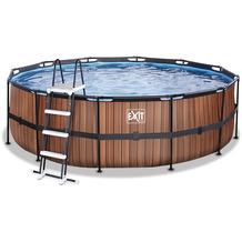 EXIT Wood Pool mit Sandfilterpumpe - braun ø360x122cm