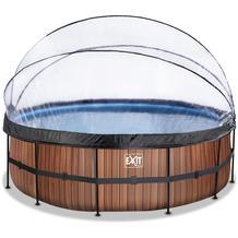 EXIT Wood Pool mit Abdeckung und Sandfilterpumpe - braun ø360x122cm