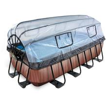 EXIT Wood Pool mit Abdeckung und Sandfilter- und Wärmepumpe - braun 400x200x100cm