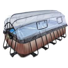 EXIT Wood Pool mit Abdeckung und Sandfilterpumpe - braun 400x200x122cm