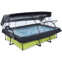 EXIT Lime Pool mit Abdeckung, Sonnensegel und Filterpumpe - grün 300x200x65cm