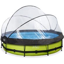 EXIT Lime Pool mit Abdeckung und Filterpumpe - grün ø360x76cm