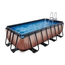 EXIT Pool Holzfarbend 400x200x100cm mit Sandfilterpumpe - braun