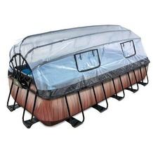 EXIT Pool Holzfarbend 540x250x100cm mit Abdeckung und Sandfilterpumpe - braun
