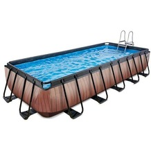 EXIT Pool Holzfarbend 540x250x100cm mit Sandfilterpumpe - braun