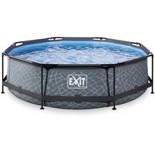 EXIT Steinfarbener Pool ø300x76cm mit Filterpumpe - grau