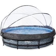 EXIT Stone Pool mit Abdeckung und Filterpumpe - grau ø360x76cm
