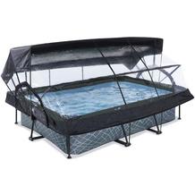 EXIT Stone Pool mit Abdeckung, Sonnensegel und Filterpumpe - grau 300x200x65cm