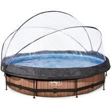 EXIT Wood Pool mit Abdeckung und Filterpumpe - braun ø360x76cm