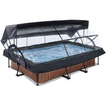 EXIT Wood Pool mit Abdeckung, Sonnensegel und Filterpumpe - braun 300x200x65cm