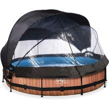 EXIT Wood Pool mit Abdeckung, Sonnensegel und Filterpumpe - braun ø360x76cm