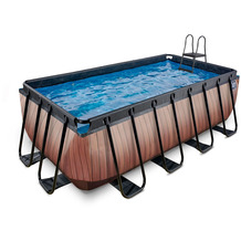 EXIT Wood Pool mit Sandfilterpumpe - braun 400x200x122cm