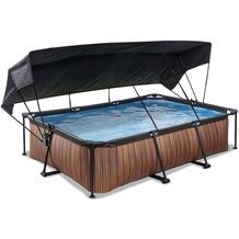 EXIT Wood Pool mit Sonnensegel und Filterpumpe - braun 300x200x65cm