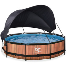 EXIT Wood Pool mit Sonnensegel und Filterpumpe - braun ø360x76cm