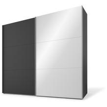 Express Möbel Schwebetürenschrank SWIFT 2-türig, Korpus Basalt und Front Basalt/Spiegel 216 x 200 x 68 + Zubehör