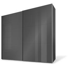 Express Möbel Schwebetürenschrank SWIFT 2-türig, Korpus Basalt und Front Glanzglas Basalt 216 x 200 x 68 + Zubehör