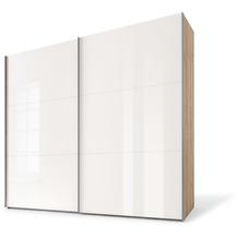 Express Möbel Schwebetürenschrank SWIFT 2-türig, Korpus Jackson-Eiche Nb. und Front Weissglas 216x150x68 + Zubehör