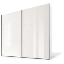 Express Möbel Schwebetürenschrank SWIFT 2-türig, Korpus Polarweiss und Front Weissglas 216 x 150 x 68