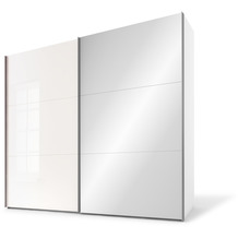 Express Möbel Schwebetürenschrank SWIFT 2-türig, Korpus Polarweiss und Front Weissglas/Spiegel 216 x 200 x 68