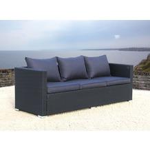 Famous Home Lounge Rattan Sofa 200cm Pepe Schwarz  Couch Futon Couchgarnitur Schwarz/Anthrazit