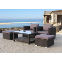 Famous Home Poly-Rattan Sitzgruppe 12tlg  Lounge-Möbel Garten-Möbel Pepe Braun Braun