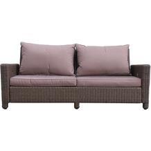 Famous Home Rattan Lounge Sofa 200cm Couch Futon  Couchgarnitur Braun Braun